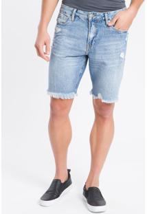 Bermuda Jeans C/ Puídos E Barra Desfiada - Azul Médio - 38