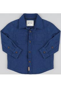 7302532cd61a2 Camisa Infantil Chambray Texturizado Manga Longa Azul Escuro