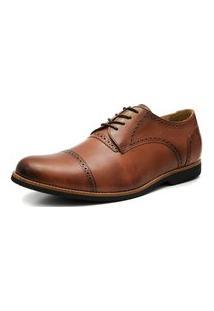 Sapato Social Oxford Veneza Click Calcados Tamanho Especial Couro Caramelo