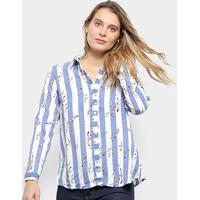 4b903acf6 Camisa Pérola Manga Longa Listrada Feminina - Feminino-Azul