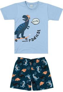 Pijama Azul Claro Dino Radical Menino
