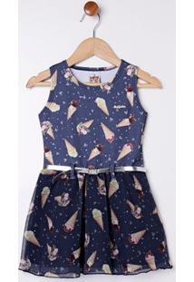 Vestido Com Cinto Infantil Para Menina - Azul Marinho