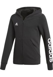 Jaqueta Yg Linear Fz Hd - Cinza Escuro & Branca - Adidas