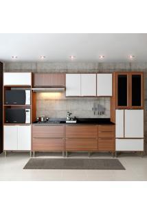 Cozinha Completa Calábria Com Tampo 14 Portas Nogueira/Branco - Multimóveis