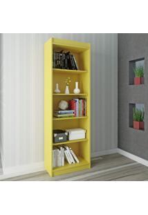 Estante Para Livros 4 Prateleiras Sapiranga Clássico Atualle Móveis Amarelo Acetinado