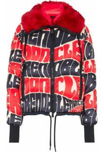 Moncler Grenoble Jaqueta Matelassê Com Estampa De Logo - Vermelho