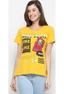 Camiseta Coca Cola High Tech Feminina - Feminino-Amarelo Escuro