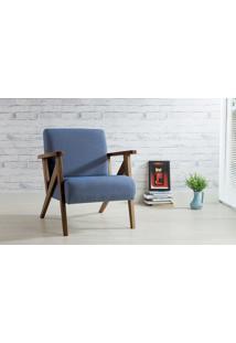 Poltrona De Madeira Decorativa Azul Claro - Poltrona Confortável Para Sala E Quarto - Verniz Capuccino \ Tec.930 - Anis 72X76X85 Cm