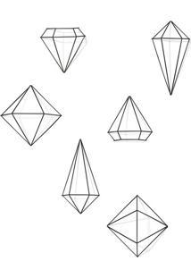 Conjunto Com 6 Enfeites De Parede Prisma Preto
