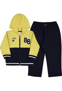 Conjunto Bebê Menino Moletom - Masculino-Amarelo