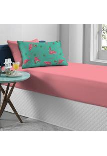 Jogo De Cama Portallar Solteiro Malha Flamingo Portal Play 2 Peças Rosa
