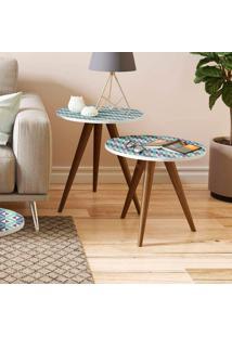 Mesa De Canto 500 Retrô – Be Mobiliário - Branco / Estampa Azul
