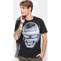 345806e144 Camiseta Cavalera Estampa Robô Jaspion Masculina - Masculino-Preto