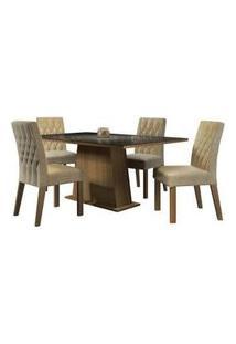 Conjunto Sala De Jantar Madesa Grazi Mesa Tampo De Vidro Com 4 Cadeiras Rustic/Preto/Imperial Rustic