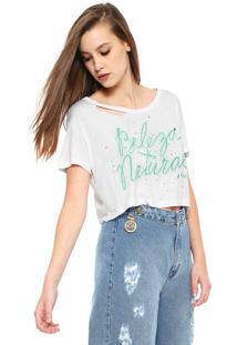Camiseta Cropped Coca-Cola Jeans Lettering Branca