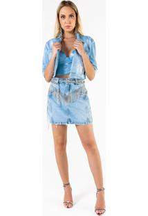 Jaqueta Jeans Cropped Com Bordado De Strass E Corr Azul