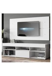 Rack Com Painel Para Tv Até 65 Polegadas Madesa Miami 1 Porta Branco Branco