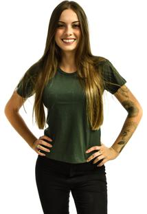 Camiseta Rich Young Baby Look Básica Lisa Malha Verde Escuro