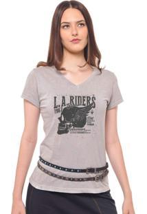 Camiseta Feminina Joss Estampada La Riders Cinza