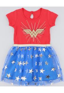 Vestido Infantil Carnaval Mulher Maravilha Com Tule Estampado De Estrelas Manga Curta Vermelho
