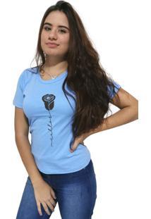 Camiseta Feminina Cellos Rose Premium Azul Claro - Kanui