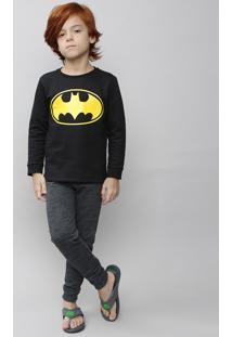 Pijama Infantil Batman Em Moletom Manga Longa Preto