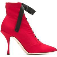 e03b1684e Dolce   Gabbana Ankle Boot De Couro Com Cadarço - Vermelho