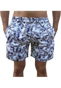 Bermuda Short Moda Praia Estampados Dolar Relaxado Masculina - Masculino-Cinza