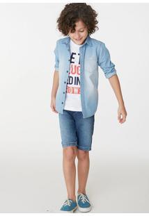 Conjunto Infantil Menino Com Blusa E Bermuda Jeans Hering Kids