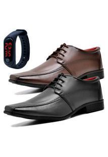 2 Pares Sapato Social Fashion Com Relógio Led Fine Dubuy 804El Preto