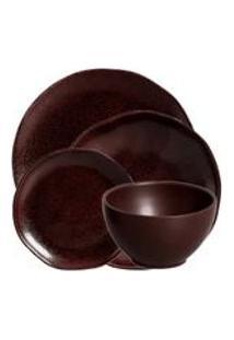 Jogo De Jantar De Ceramica Stone Oak Organico Volcano Porto Brasil 24Pcs