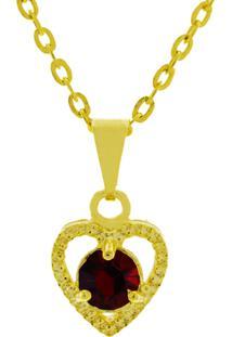 Gargantilha Horus Import Ponto Luz Coração Banhada Ouro 18 K Dourado/Vermelho