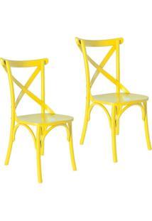 Kit 2 Cadeiras Paris Estilo Vintage Em Madeira Maciça Pintura Laca Amarelo