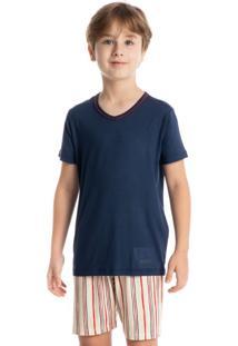 Pijama Infantil Masculino Curto Estampado Stripes