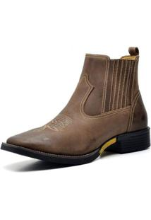 Bota Country Top Franca Shoes Crazy Horse Masculina - Masculino-Marrom