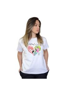 Camiseta Boutique Judith Flamingo Love Branco