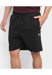 Bermuda Moletom Element Walk Essential Black Masculina - Masculino-Preto