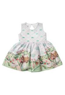 Vestido Para Bebê Em Cetim Estampado Joáo E Maria - Anjos Baby Verde