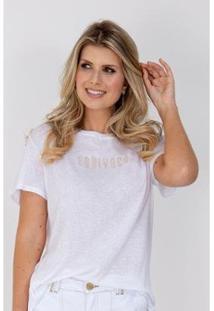 Camiseta Equivoco Oversized Alexa Feminina - Feminino-Branco