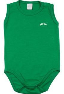 Body Ano Zero Bebê Cotton Manga Cavada Básico Verde