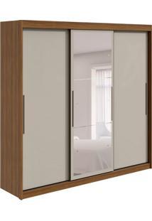 Guarda-Roupa Casal Com Espelho Taurus Flex 3 Pt 6 Gv Rovere E Off White