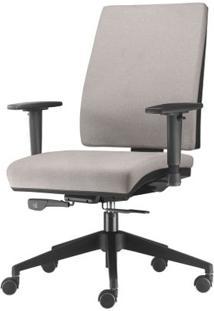 Cadeira Simple Presidente Com Braco Em Courino Assento Crepe Cinza Claro Base Nylon Piramidal - 54915 Sun House