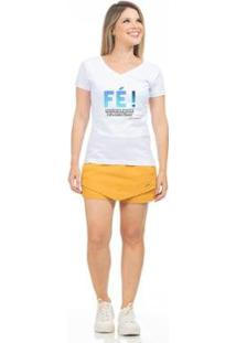 Camiseta Clara Arruda Baby Look Gola V Feminina - Feminino-Branco