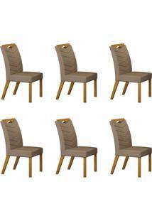 Conjunto Com 6 Cadeiras Verona Imbuia Mel E Veludo Camurça