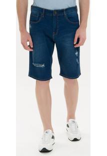 Bermuda Jeans Five Pockets - Azul Médio - 36