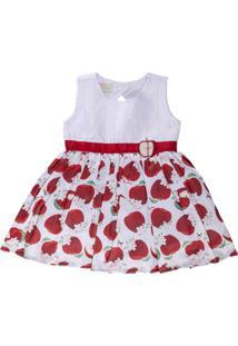 Vestido Para Bebê Sem Manga Rodado Em Tecido Acetinado Maças - Anjos Baby Vermelho