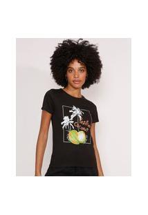 """Camiseta Positive Coconut"""" Manga Curta Decote Redondo Preta"""""""