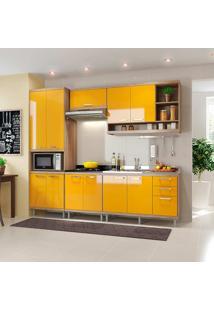 Cozinha Compacta 5 Peças Sicília 5808-S5 - Multimóveis - Argila / Amarelo