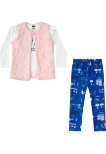 Trijunto Boca Grande Infantil Baby Look, Legging E Colete De Pêlo Feminino - Feminino-Branco