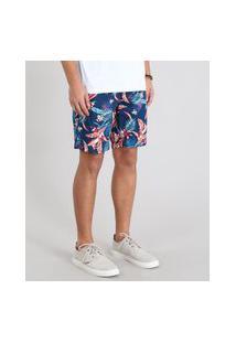 Bermuda De Sarja Masculina Slim Estampada Folhagens Com Cordão Azul Marinho